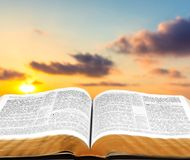 Bible. Open Gospel Religion Religious Text Book Sky Royalty Free Stock Images