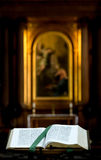 Bible. Open Bible on a lectern in the chapel of Clare college, Cambridge stock images