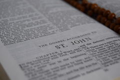 Bible. Open Bible showing the Gospel according to St. John Stock Image