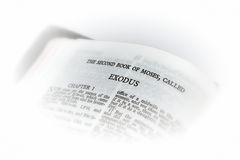 Bible open to exodus vignette. Holy bible open to the second book of moses called exodus, with white vignette giving the image a clean heavenly feel Stock Photos