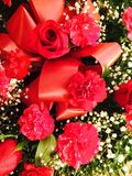 Red Rose and Carnation Floral Bouquet Stock Images