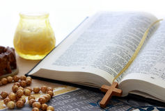 Bible opened. Open bible and christ royalty free stock photo