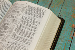 Bible opened to the Book of Pslams. Bible opened to the Book of Psalm stock photography