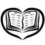 Bible ouverte au coeur, modèle noir, repère avec une croix illustration de vecteur