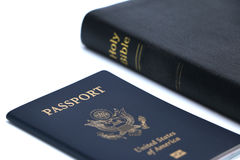 Bible and Passport Stock Images