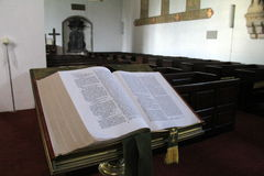 Bible on pedestal in room of Old Augustinian Friary, Adare,Ireland,2014 Stock Image