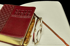Bible personal journal pen glasses Stock Photos