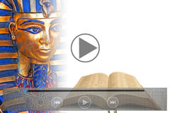 Bible prophecy video on mobile tablet device Stock Photo