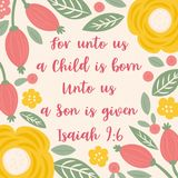 Bible Quote from Isaiah about jesus for christmas holidays, with floral and leaves doodles Hand drawn style. For used as print or wall poster stock illustration
