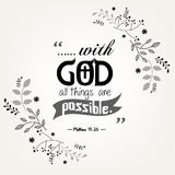 Bible quote verbs in floral wreath design Royalty Free Stock Images
