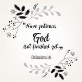 Bible quote verbs in floral wreath design Stock Photo