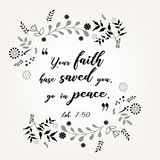 Bible quote verbs in floral wreath design Royalty Free Stock Photos