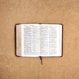 Bible reading. Open Russian Bible with old style letters Royalty Free Stock Images