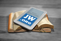 Bible reading online Stock Photos
