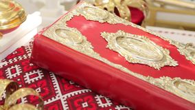 Bible in the red cover stock footage