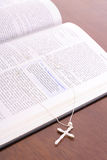Bible & rhinestone cross vertical Stock Image