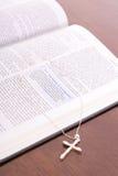 Bible & rhinestone cross vertical. Bible & rhinestone cross vertical gold Stock Image