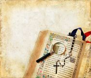 Bible, Rosary, Magnifying Glass Royalty Free Stock Photo