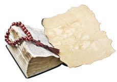 Bible with rosary and old paper Royalty Free Stock Photos