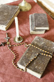 Bible and rosary to pray. Detail of religious objects, Christianity, belief and faith Stock Photography