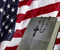 Bible and Rosary and USA Flag faith religion concept Stock Photo