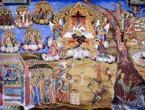 Bible scene mural from Rila monastery. Bible scene mural painting from Rila Monastery in Bulgaria Royalty Free Stock Photo