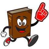 Bible School Mascot Running with Foam Finger Royalty Free Stock Photos