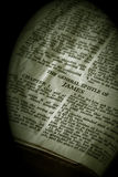Bible Series James sepia. Bible Series. close up detail of antique holy bible open to the gospel according to the general epistle of james in the new testament Royalty Free Stock Photos