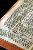 Bible Series Philippians. Bible Series. close up detail of antique holy bible open to the gospel according to the epistle of paul the apostle to the Philippians Royalty Free Stock Photo