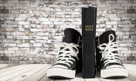 Bible. Shoe Religion Youth Culture Sports Shoe Canvas Shoe Spirituality Stock Photography