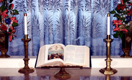 Bible on Stand. Bible in church on alter Royalty Free Stock Photo