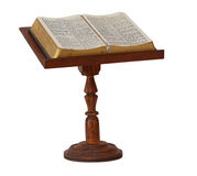 Bible on Stand. Bible on wooden stand isolated on white Stock Photos