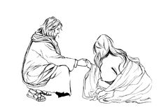 Bible stories in John 8 about Jesus and Adulteress; Hand drawn Illustration Christianity Education Royalty Free Stock Photo