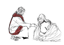 Bible stories in John 8 about Jesus and Adulteress; Hand drawn Illustration Christianity Education Stock Images