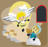 MARY AND ANGEL GABRIEL CARTOON Stock Image