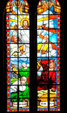 Bible story about Jesus on stained glass. Stained glass window of Catholic church, about the Jesus story from Bible Stock Photography
