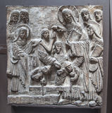 Bible story relief. Exhibition hall of Victoria and Albert Museum. LONDON, UK - AUGUST 24, 2014: Exhibition hall of Victoria and Albert Museum. V&A Museum is Royalty Free Stock Photography