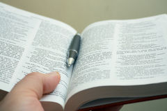 Bible study. Hand holding a Bible Stock Photo