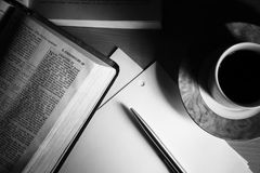Bible Study 2 BW. Hard study during the night. Black&White Stock Photo
