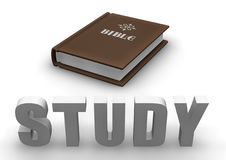 Bible Study. Bible with 3D word STUDY Royalty Free Stock Images