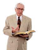 Bible Study. Senior man preaching or leading a Bible study royalty free stock images