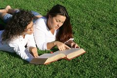 bible study. Bible study, christian  youth reading bible outdoors Stock Images