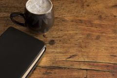 Bible Study and a Coffee. Bible Study on a Wooden Table royalty free stock photos