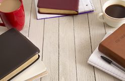 Bible Study and a Cup of Coffee stock photos