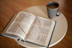Bible Study with Hot Drink Stock Image
