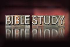 Bible Study Letterpress. The words Bible Study written in vintage letterpress type Stock Photo