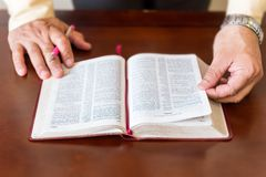 Bible study by a man of God or Pastor Royalty Free Stock Images
