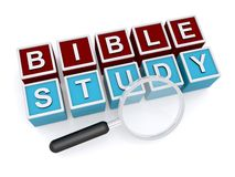 "Bible study. Text ""Bible study"" inscribed in white uppercase letters on small red and blue cubes with hand magnifier placed alongside, white background Royalty Free Stock Photo"