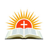 Bible, sunset and cross. Church logo concept. Isolated on white