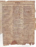 Bible Table. On parchment paper. Circa 1600 ish Stock Image